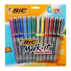 Bic, Mark It Permanent Marker Set, Assorted Colors, Ultra Fine Tip, 12 Pack