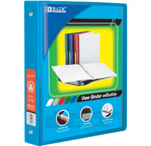 "Bazic 1"" Cyan 3-Ring View Binder with 2-Pockets"