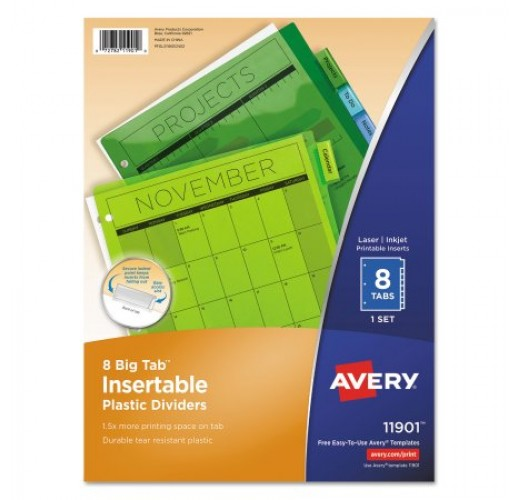 Avery Big Tab Insertable Plastic Dividers, 8-Tab, Letter, Multicolor