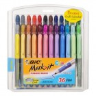 Bic, Mark It Permanent Marker Set, Assorted Colors, Fine Tip, 36 Pack