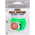 Scribble Stuff 2-Hole Pencil Sharpener w/Eraser, 1-Count