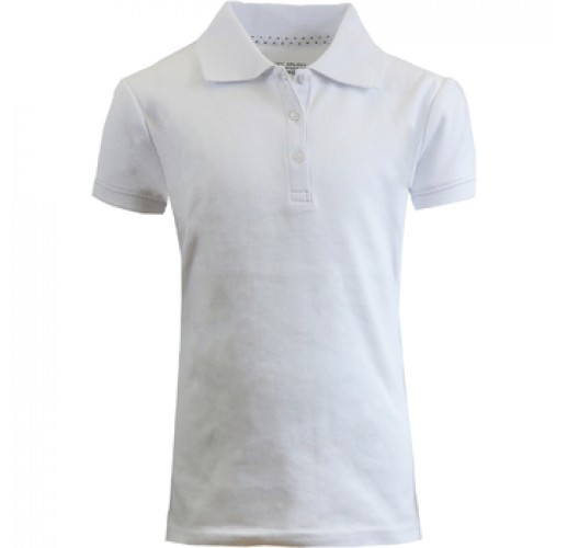 Girls White S/S Interlock Polo Shirts - Sizes 7-16